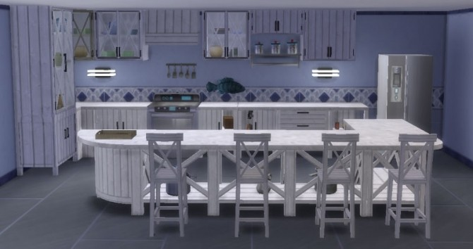 Sims 4 Kitchen Inspiration Navy by Maman Gateau at Sims Artists