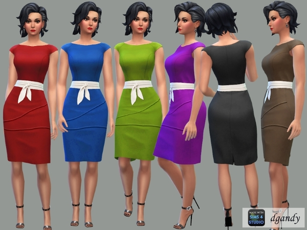 Pencil Dress with Tie Belt by dgandy at TSR image 337 Sims 4 Updates