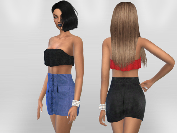 Sims 4 Suede Skirt by Puresim at TSR