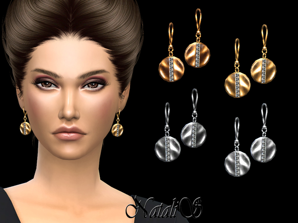 Sims 4 Disc with Crystals Drop Earrings by NataliS at TSR
