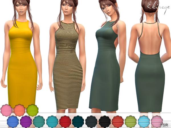 Sims 4 Open Back Dress by ekinege at TSR