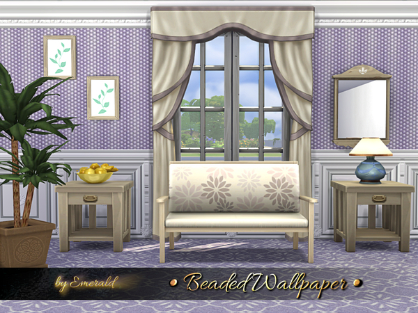 Sims 4 Beaded Wallpaper by emerald at TSR
