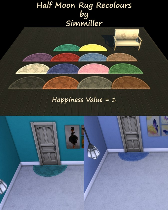 Sims 4 Half Moon Rug Recolours by Simmiller at Mod The Sims