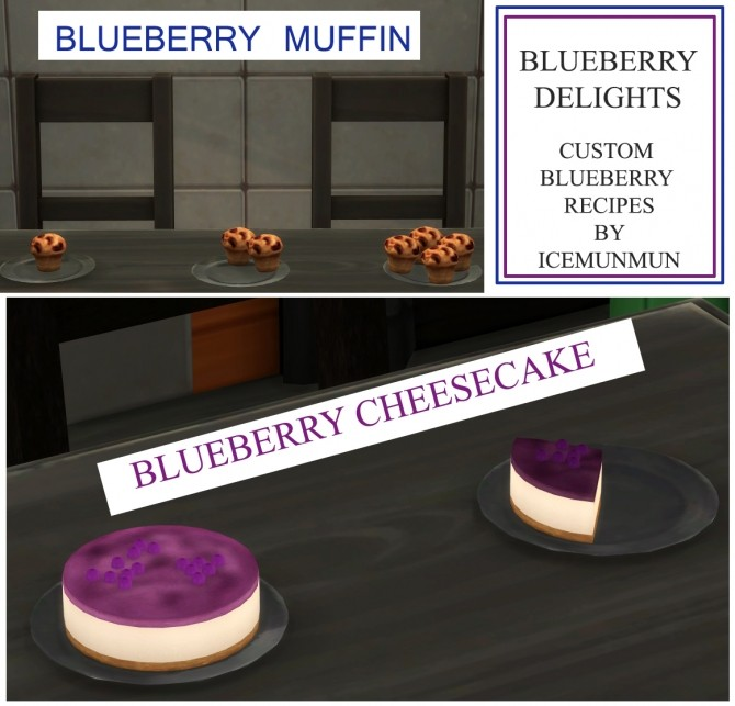 Sims 4 Blueberry Delights Cheesecake and Muffin by icemunmun at Mod The Sims