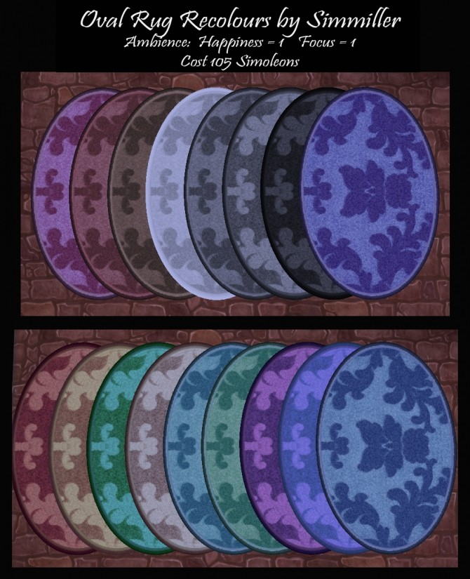Sims 4 Oval Rug Recolours by Simmiller at Mod The Sims