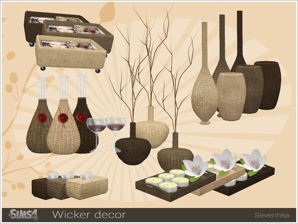 Sims 4 Wicker decorative set by Severinka at TSR