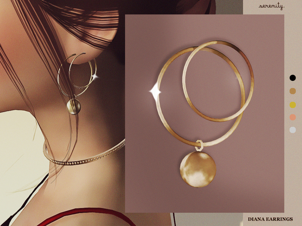 Sims 4 Diana Earrings by serenity cc at TSR