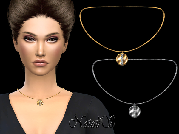 Sims 4 Disc with Crystals Pendant necklace by NataliS at TSR