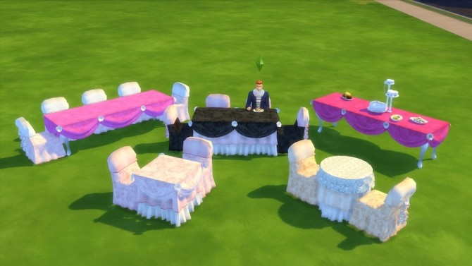 Sims 4 PrincessBliss Tie The Knot Wedding Tables, Chair, And Decorative Cake by BigUglyHag at SimsWorkshop
