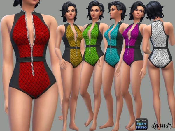 Sims 4 Swimsuit with Front Zipper by dgandy at TSR