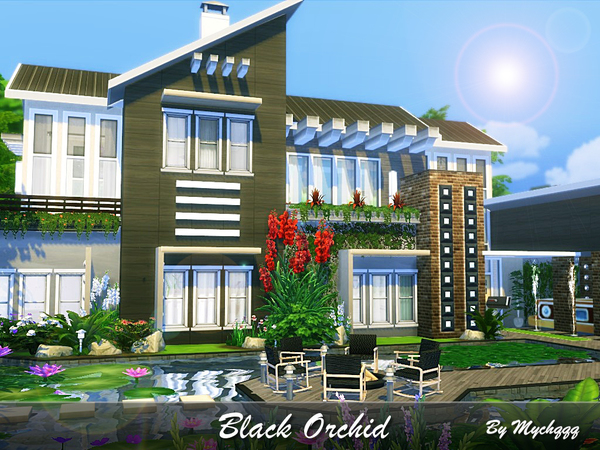 Sims 4 Black Orchid house by MychQQQ at TSR