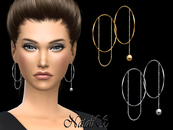 Sims 4 Asymmetric hoop earrings with chain by NataliS at TSR