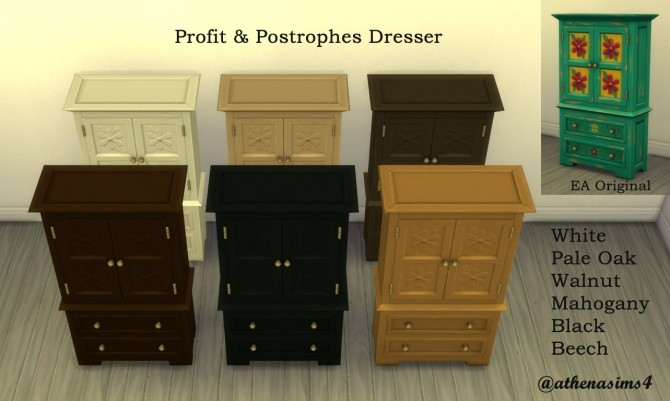 Profit & Postrophes Dresser by athenasims4 at Mod The Sims image 554 670x401 Sims 4 Updates