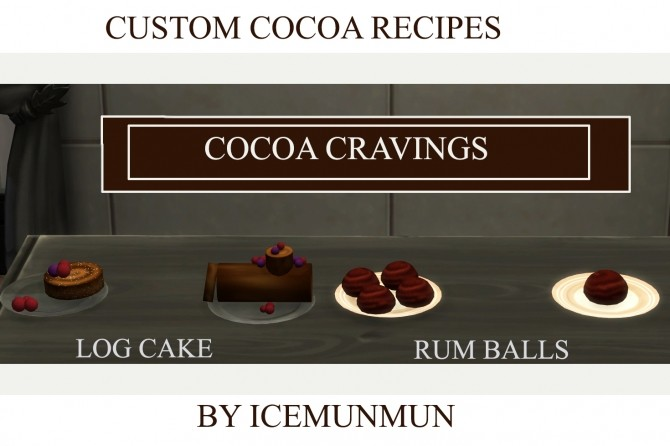 Cocoa Cravings Log Cake and Rum Balls by icemunmun at Mod The Sims image 5614 670x446 Sims 4 Updates