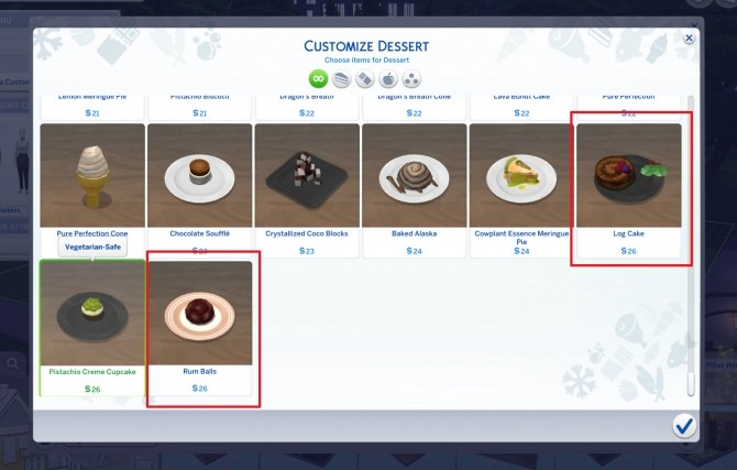 Sims 4 Cocoa Cravings Log Cake and Rum Balls by icemunmun at Mod The Sims