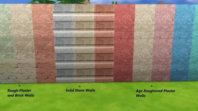 Sims 4 Solid Stone and Age Roughened Walls by Snowhaze at Mod The Sims