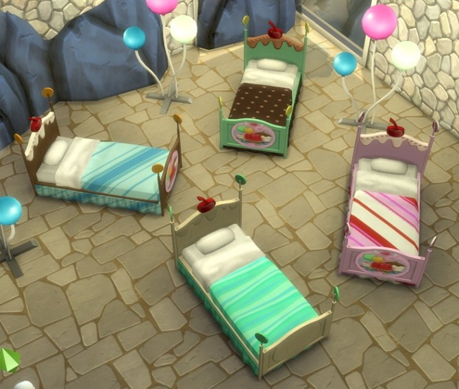 Sims 4 3 to 4 Katy Perry Candy Toddler Bed by BigUglyHag at SimsWorkshop