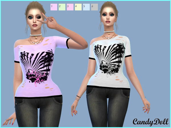 Sims 4 Beautiful and Free Ripped Tee by CandyDolluk at TSR