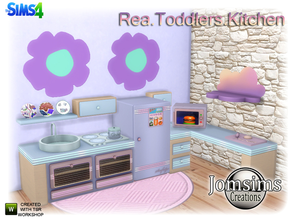 Rea Toddlers Kitchen by jomsims at TSR image 670 Sims 4 Updates