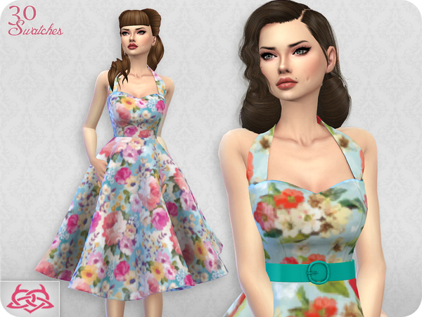 Sims 4 Sarah dress RECOLOR 1 by Colores Urbanos at TSR