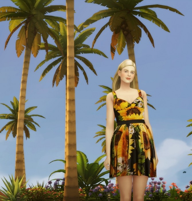 Sunflower dress 5 colors at Rusty Nail image 7413 670x699 Sims 4 Updates