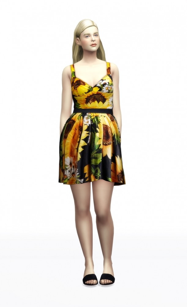 Sunflower dress 5 colors at Rusty Nail image 7513 611x1000 Sims 4 Updates