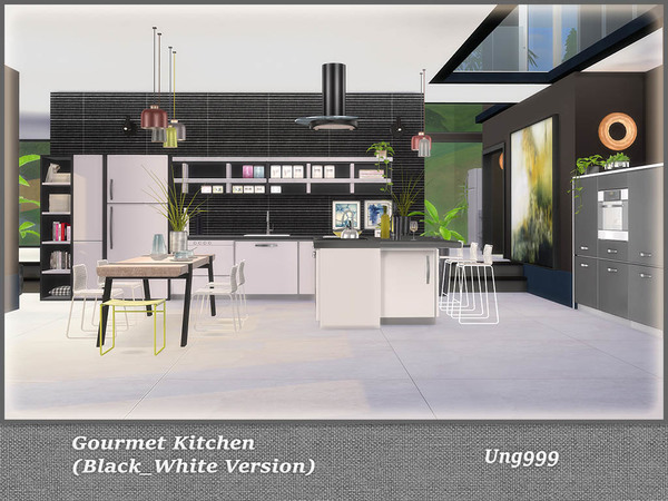 Gourmet Kitchen Black and White Version by ung999 at TSR image 752 Sims 4 Updates