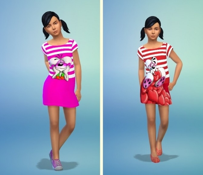 Sims 4 Diddl Maus Dress for Kids at Louisa Creations4Sims
