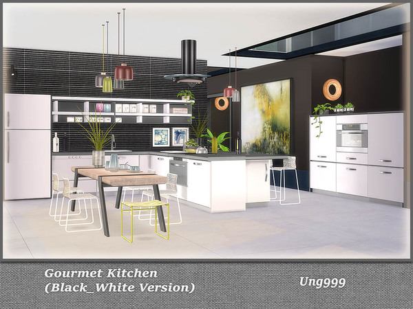 Gourmet Kitchen Black and White Version by ung999 at TSR image 772 Sims 4 Updates