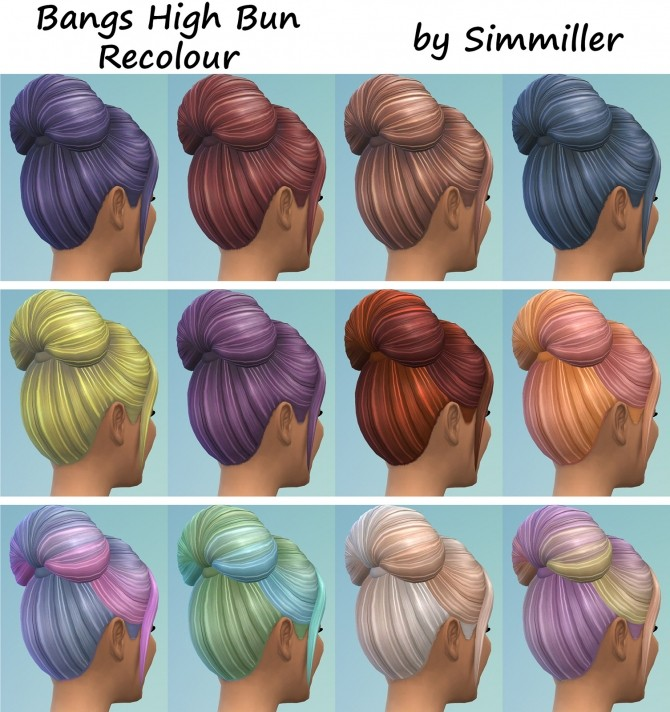 High Bun with Bangs Recolour by Simmiller at Mod The Sims image 778 670x712 Sims 4 Updates