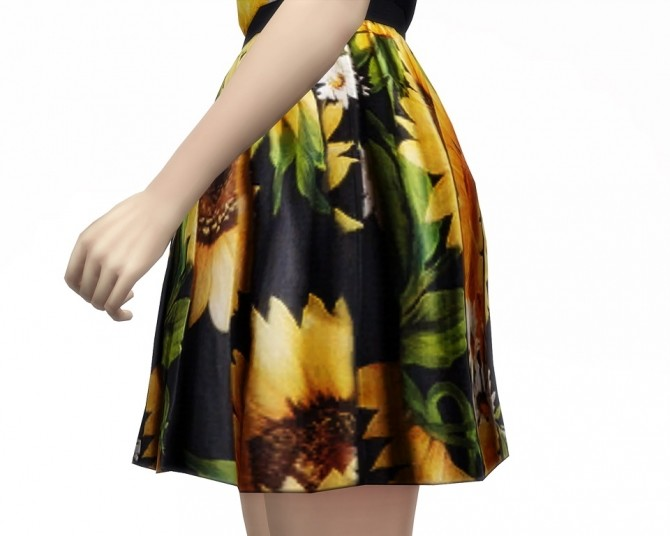 Sunflower dress 5 colors at Rusty Nail image 7811 670x536 Sims 4 Updates