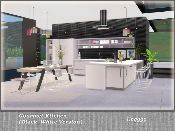 Gourmet Kitchen Black and White Version by ung999 at TSR image 782 Sims 4 Updates