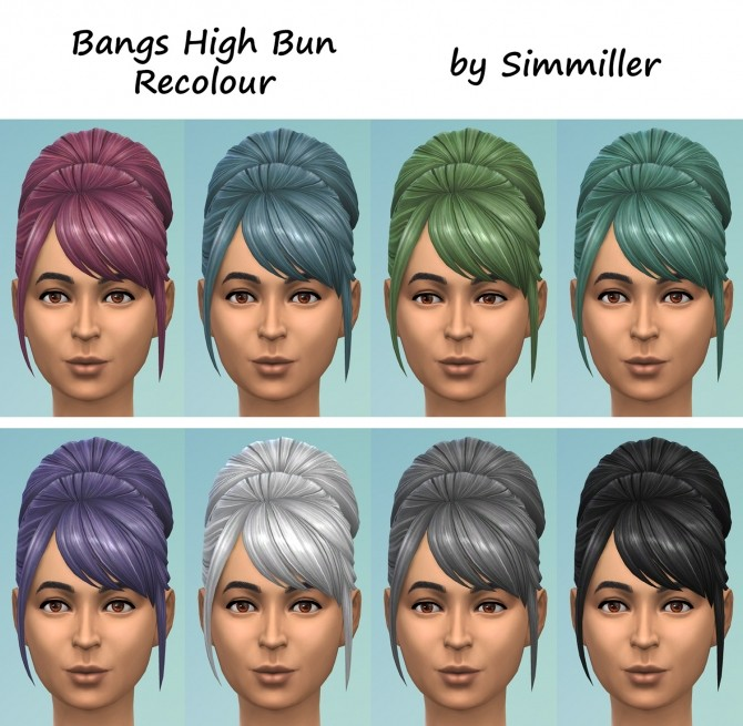 High Bun with Bangs Recolour by Simmiller at Mod The Sims image 789 670x655 Sims 4 Updates