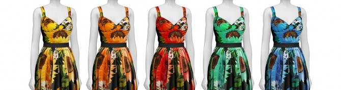 Sunflower dress 5 colors at Rusty Nail image 7912 670x178 Sims 4 Updates