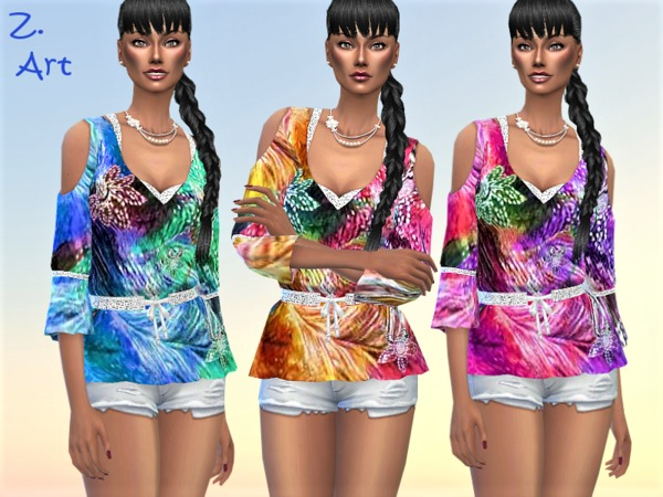 TrendZ 10 colorful blouse by Zuckerschnute20 at TSR image 7917 Sims 4 Updates
