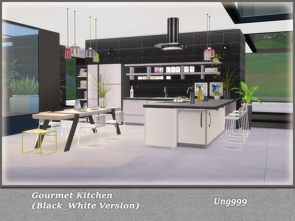 Gourmet Kitchen Black and White Version by ung999 at TSR image 792 Sims 4 Updates