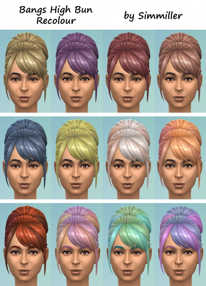 High Bun with Bangs Recolour by Simmiller at Mod The Sims image 799 670x926 Sims 4 Updates
