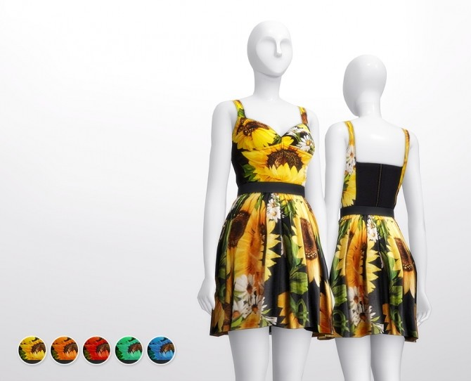 Sunflower dress 5 colors at Rusty Nail image 8011 670x542 Sims 4 Updates
