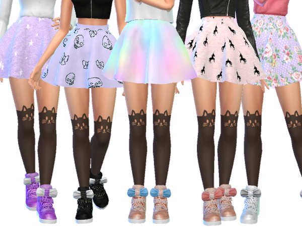 Sims 4 Pastel Gothic Skirts Pack Four by Wicked Kittie at TSR
