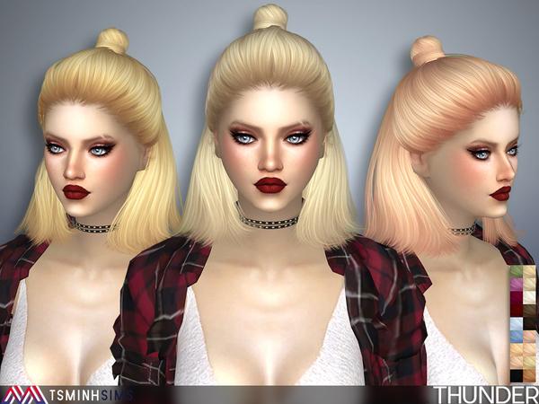Sims 4 Thunder Hair 38 by TsminhSims at TSR
