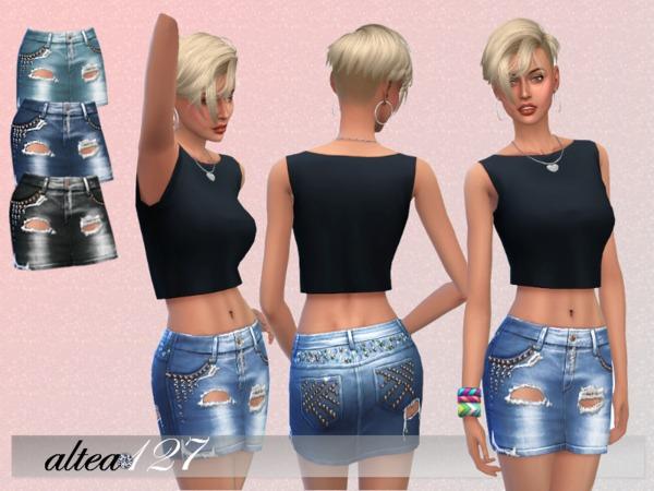 Sims 4 Denim skirt by altea127 at TSR