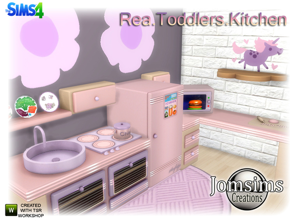 Rea Toddlers Kitchen by jomsims at TSR image 860 Sims 4 Updates