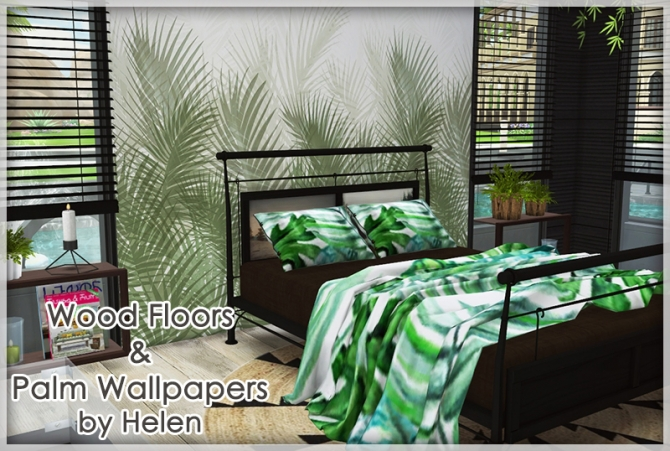 Wood Floors And Palm Wallpapers At Helen Sims 187 Sims 4 Updates