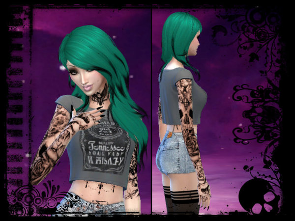 Skull and roses tattoo sleeve by MaruChanBe at TSR image 8814 Sims 4 Updates