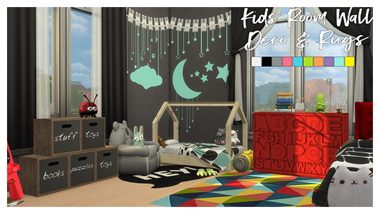 Sims 4 Kids Room Wall Deco & Rugs by Sympxls at SimsWorkshop