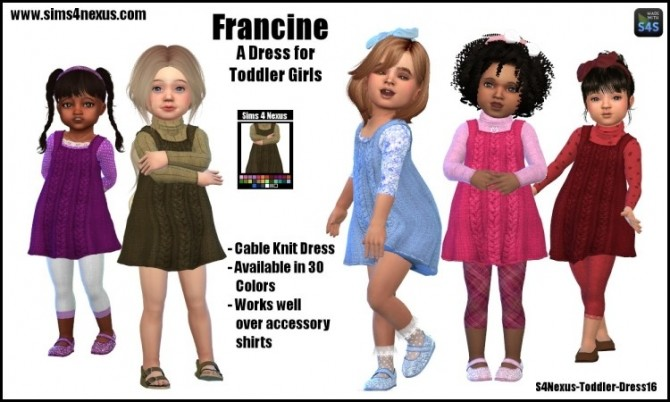Sims 4 Francine cable knit dress by SamanthaGump at Sims 4 Nexus