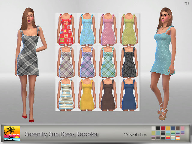 Sims 4 Serenity Sun Dress Recolor at Elfdor Sims