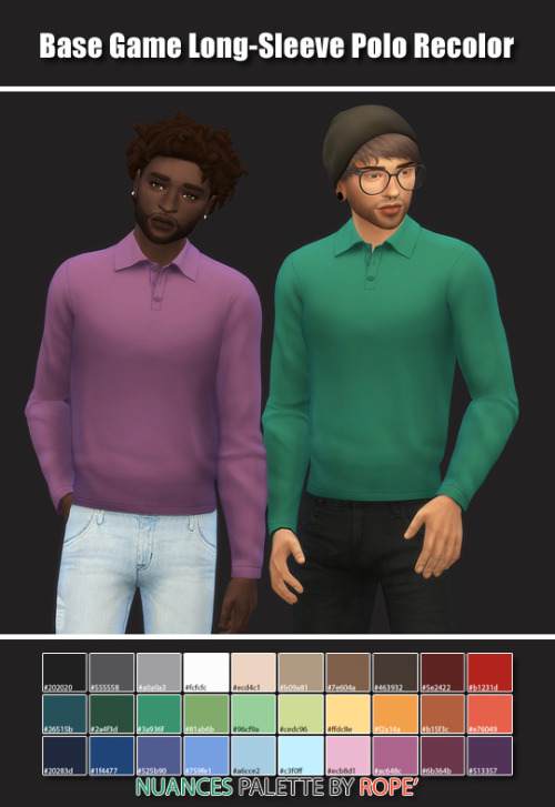 Sims 4 Base Game Long Sleeve Polo Recolor at Maimouth Sims4