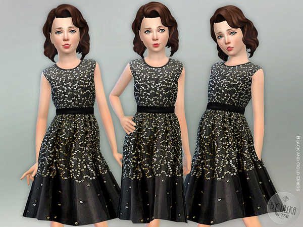 Black and Gold Dress by lillka at TSR image 1116 Sims 4 Updates