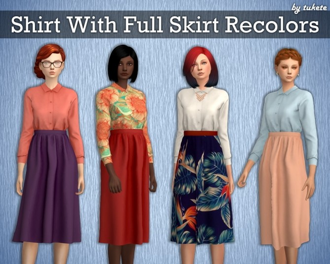 Sims 4 Shirt With Full Skirt Recolors at Tukete